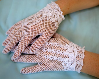 White or Ivory lace bridal gloves