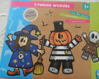 lot 3 puppets or puppet articulated, moving with the witch, jack lantern, Ghost for Halloween characters