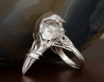 Raven Ring, Sterling Silver 925, Silver Skull Ring, Raven Skull Ring, Crow Skull Ring, Gothic Ring,Skull Ring, Macabre Jewelry, Raven Skull