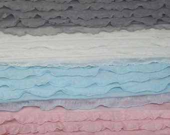 Cascading Ruffle Fabric Baby Blanket Stuffer Wrap for Photography Photo Prop