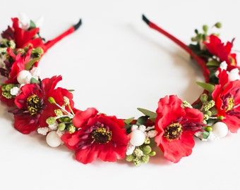 "Ukrainian Wreath Flower Headdress Head - Hair accessories ""Red Poppies"""