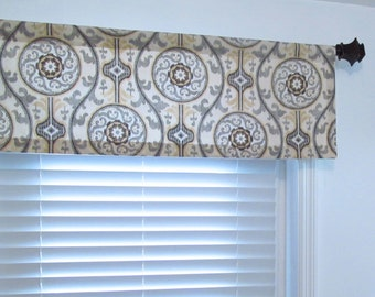 Top Window Treatment  Straight Valance Brown Tan Grey Ivory Oh Suzanni Metal Custom Sizing Available!