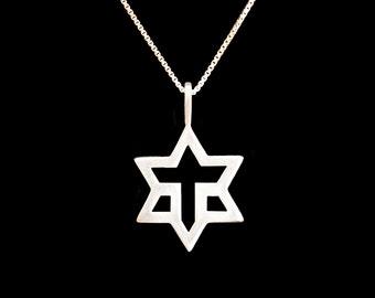Magen David & Cross Pendant Sterling Silver