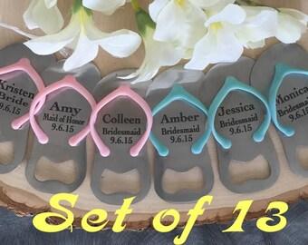 Set of 13 Flip Flop Bottle Opener/Wedding Gift/Bridesmaid Gift/Maid of Honor/Bridal Gift/ Beach theme