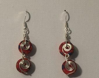 Rewind: Cassette Tape Earrings/Orange Earrings/Handmade/Swirl Earrings