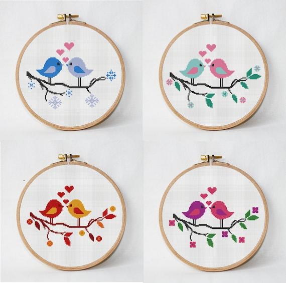 4 patrón de punto de cruz árbol con pájaros, 4 estaciones, punto de ...