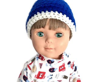 18 Inch Boy Doll Beanie, Blue and White Crocheted Doll Hat, Blue and White Striped Beanie, Boy Doll Clothes
