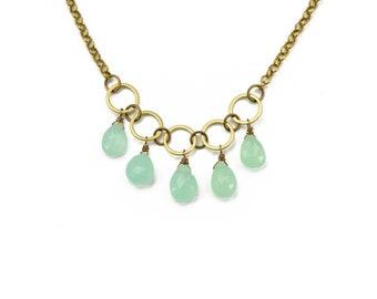 Christina Seafoam Chalcedony Circle Necklace