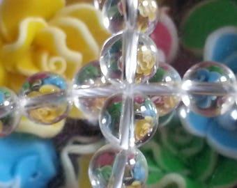 20 diameter 8 mm rock crystal beads, 1 mm hole