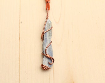 Kyanite and Copper Wire wrapped necklace with burnt orange chord