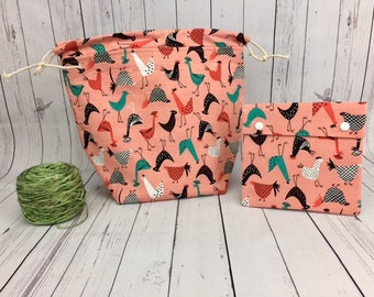 Chickens Bucket Bag AND Notions Case set, Knitting project bag, Crochet project bag,  Zipper Project Bag, Yarn bowl