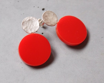 Circle Earring, Sterling Silver Ear studs with Red Plexi,  Geometric Earring, Modern Silver Jewelry, Contemporary art