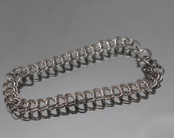925 - Vintage Double Cable Loop Link Bracelet in Sterling Silver
