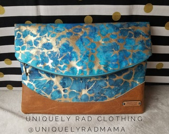 Handmade, Premium quality, Large Fold Over Clutch with Vinyl Bottom!!