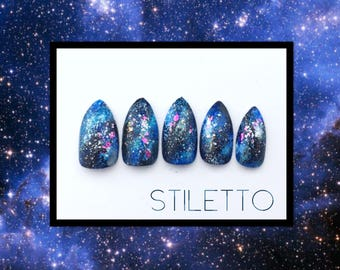 Blue or Purple Galaxy Press On Nails | Galaxy Fake Nails | Outer Space Press On Nails  | Stiletto Galaxy Nails | Acrylic Nails