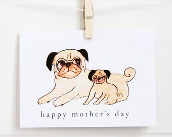 Pug Mum and Pup Mother's Day Card - Customizable With Your Text - Pug Mother's Day Card - Mom Card - Pug Card - All You Need is Pug®