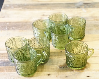 Set of Eight (8) Vintage Anchor Hocking Soreno Avocado Green Cups