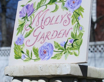 Custom hand painted personalized name plaque floral art deco choose your style!