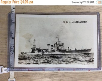 10%OFF3DAYSALE Vintage Old Post Card USS Minneapolis Ship Post Marked 1944 Used