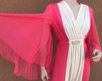 Vintage Early 1970's Dress ~ Hot Pink And White Gown, Huge Bell Sleeves, Zips Up And Ties In Back,  Excellent Condition And Quality ~ Size M