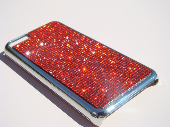 iPhone 5C Red Diamond Crystals on Silver Chrome Electro Plated Plastic Case. Velvet/Silk Pouch Included, Genuine Rangsee Crystal Cases.