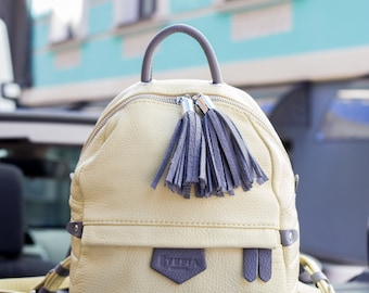 Lemon Leather Backpack,Leather Backpack, Leather back pack, Summer Backpack, Laptop backpack, casual backpack, gift for her