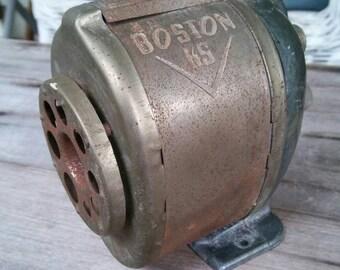 Vintage Boston KS Wall Mounted Metal Crank Pencil Sharpener Antique School Supplies
