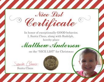 DIY print santa note, nice list santa certificate, diy print santa certificate, christmas certificate, santa claus note
