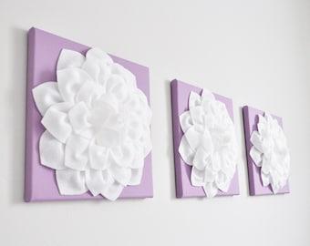 "Wall Art -SET of THREE White Dahlia on Lilac 12 x12"" Canvas Wall Art - Home Decor - Nursery Decor"