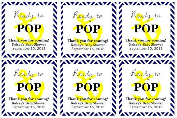 Nautical Ready To Pop Baby Shower Favor Tags Digital File From