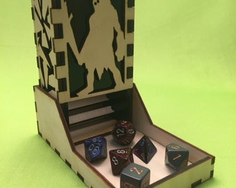 Ettin style, Deluxe dice tower, laser cut and unique, for role playing and tabletop gaming