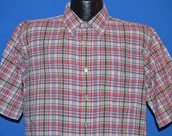 80s Red Green Plaid Button Down Shirt Large