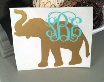 Monogram Elephant Decal, Elephant Decal with Initials