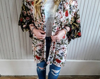 Boho style kimono top with bell sleeves