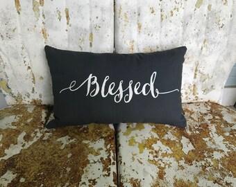 BLESSED Cotton Dark Gray Lumbar Throw Pillow /  Throw Pillow Accent Pillow / Modern Farmhouse Cottage Gift Home Decor