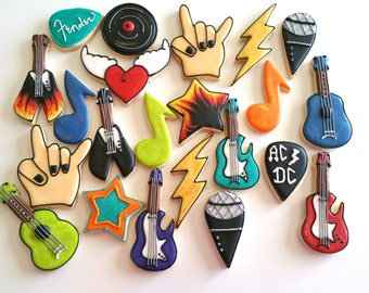 Rock N Roll cookies, royal icing sugar cookies, music cookies, hard rock cookies guitar cookies,rock n roll gift, ACDC cookies. guitar pick