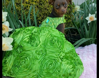 Key Lime Green Couture Designer Dog Dress