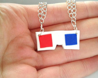 Doctor Who Polymer Clay 3D specs necklace
