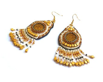 Embroidered yellow ceramic cabochons gold earrings