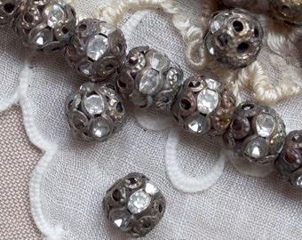 6 mm Vintage Brass Rhinestone Beads 15 or 30 Pieces