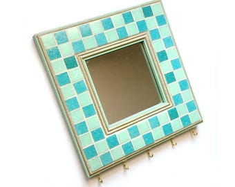 Mosaic Key Rack, Mosaic Mirror, Mosaic Mirror Key Keeper, Aqua Blue Mosaic Key Holder, Key Organizer, Key Rack, Aqua Mosaic Key Rack Mirror
