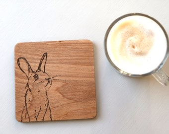 Easter Coasters, pack of 4 coasters, rabbit coasters, bunny drinks coaster, easter gift idea, easter rabbit, wooden coaster, wooden rabbit