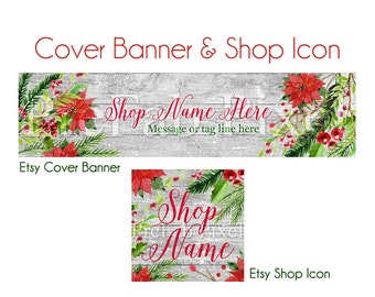 Etsy Shop Banner, Christmas, Wood Cover Banner, Holiday Etsy Banner, Poinsettia Banner, Red, Green, Rustic, Cottage, Holly, Sale Banner