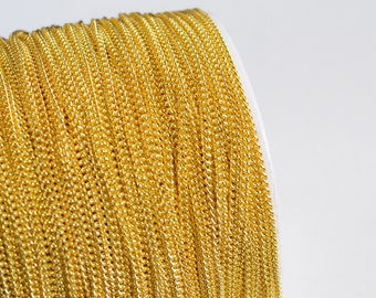 Gold Plated Curb Chain, Delicate chain, 1.3 mm - 10 feet (CHG-005)