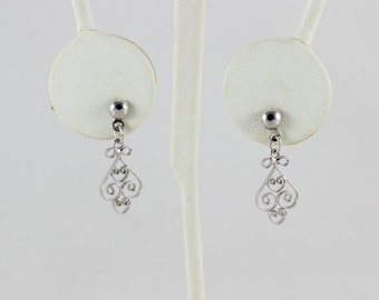 Sterling Silver Filigree Dangle Drop Earrings.