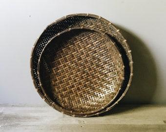 Set of 2 woven basket bowls | display baskets | storage baskets