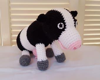 Crochet Cow Stuffed Animal / Black And White Cows/ Crochet Doll / Amigurumi Toy/  Farm Animals/Handmade Toys/ Gift For Kids