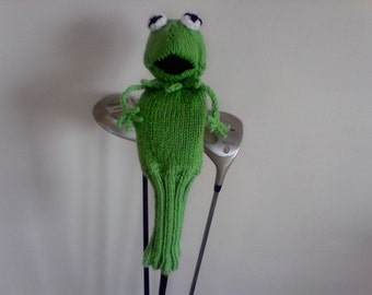 Knit Frog Golf Cover, Gift for Her, Gift for Him, Knit Golf Club Cover