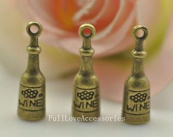 10pcs Antique Brass Wine Bottle Charms Pendant 8x8x27mm Antique Bronze Wine Bottle Pendant Charms