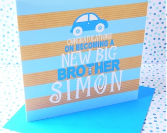 Beautiful Personalised Handmade New Big Brother Card
